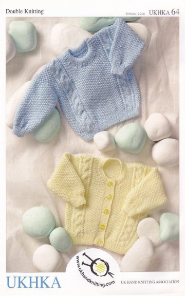 Baby Double Knitting Pattern Long Sleeved Cable Knit Cardigan Sweater UKHKA 64